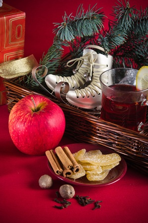 Hot wine punch for winter and Christmas with spices, cookies and decoration Stock Photo - 16656572
