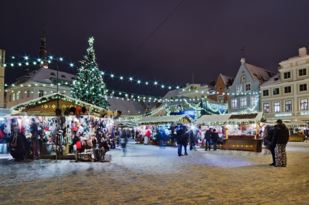 People enjoy Christmas market in Tallinn on December 09, 2012 in Tallinn , Estonia  It is Estonia oldest Christmas Market with a very long history dating back to 1441