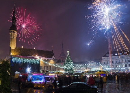 TALLINN, ESTONIA- JANUARY 1  People celebrate approach of New year on January 1, 2013 in Tallinn , Estonia   It is Estonia oldest Christmas Market with a very long history dating back to 1441