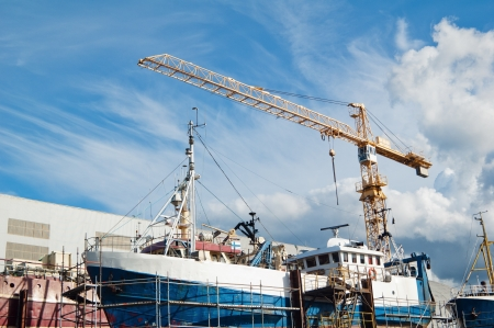 nautical vessels: The ship in repair dock Stock Photo