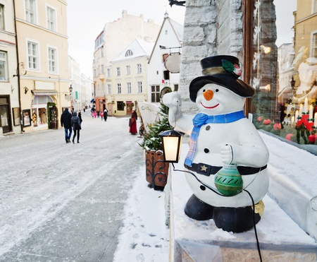 Street of Tallinn decorated by Christmas holidays