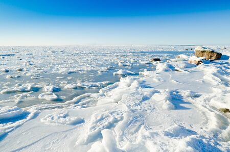 held down: The coast of Baltic sea held down by an ice