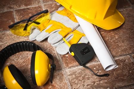 dangerous construction: Standard construction safety equipment Stock Photo