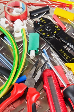 Tooling of the electrician, close up Stock Photo