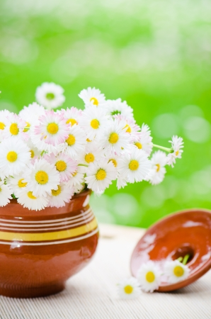 ronantic: Bouquet of wild flowers in a pot at the table Stock Photo