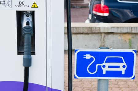 Charging station for electric cars, close-up photo