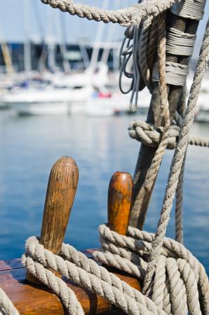 rigging: Blocks and rigging at the old sailboat, close-up