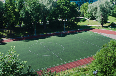 Stadium, football field. The top view photo