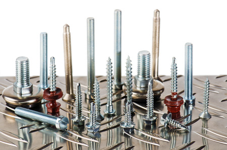 Varied screws and bolts, close up Standard-Bild