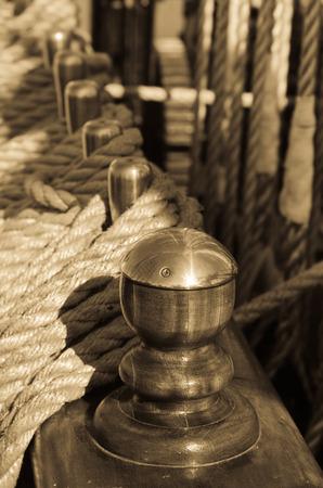 Blocks and rigging at the old sailboat, close-up photo