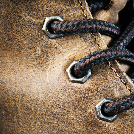 Brown leather shoe, close-up photo