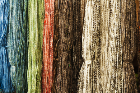 Colorful wool thread background, close up photo