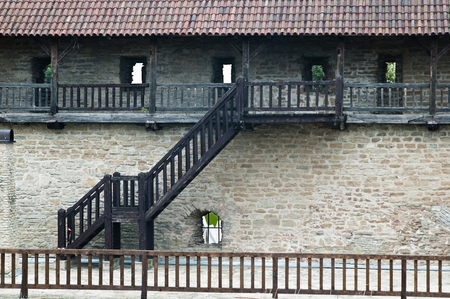 Part of the medieval fortification wall with stairs