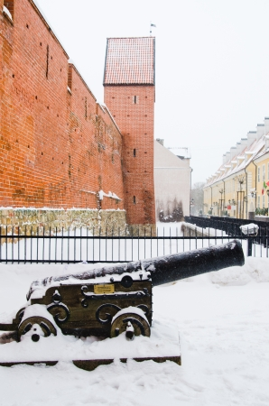 Fortress wall in Riga in snowy winter day
