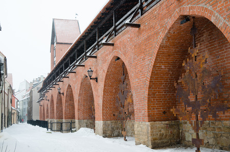 Fortress wall in Riga in snowy winter day photo