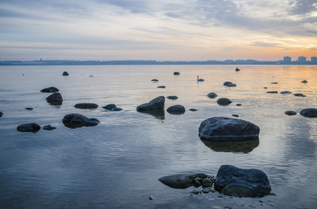 Beautiful sunrise on the sea  Views of Tallinn  photo