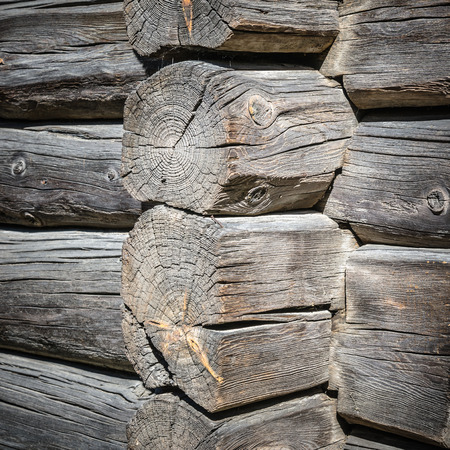 Angle old log home, close up photo
