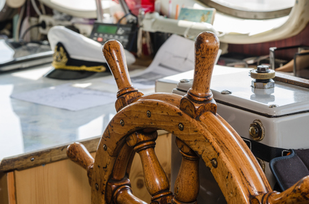 Steering wheel of the ship. A workplace of the captain photo