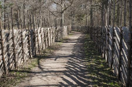 Wooden fence in the spring in the countryside photo