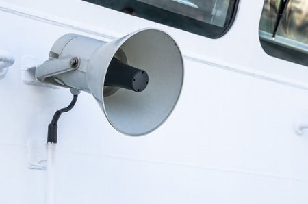 speaker phone: Megaphone of a speaker phone on a vessel, a close up Stock Photo