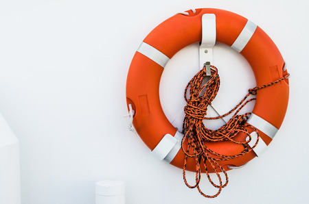 Lifebuoy ring onboard the ship, a close up photo