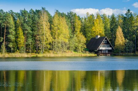 Autumn landscape on the lake in the woods photo