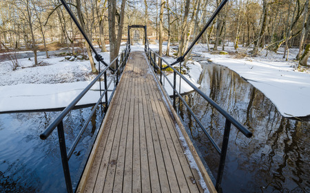 joa: Bridge across the canal in the spring Stock Photo