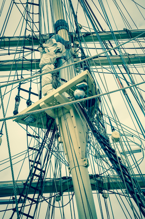 mast: Mast and sailboat rigging, toning Stock Photo