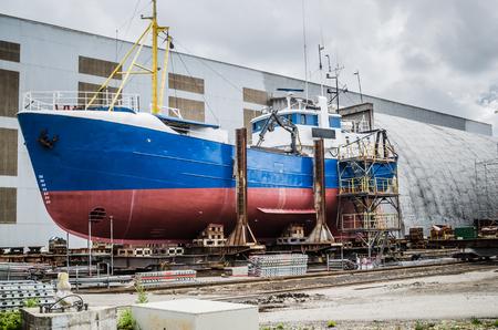 shipyard: The ship on the stocks in the shipyard