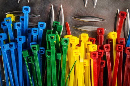 zip tie: Set colored cable ties, close up