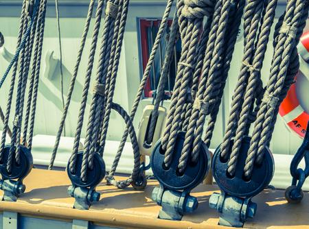 tackles: Blocks and tackles of a sailing vessel Stock Photo