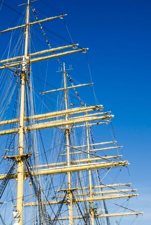 brig ship: Mast with sails of an old sailing vessel Stock Photo