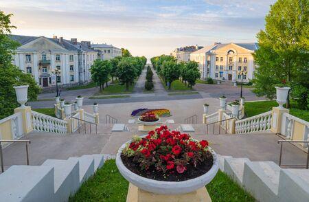 stalin empire style: Stairs to the Promenade in Sillamae, Estonia