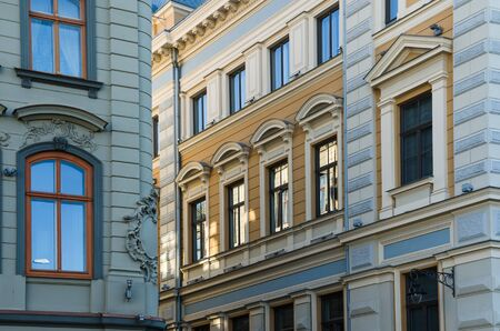 fachada: The facade of the old building in Riga