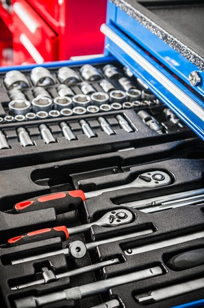 Toolbox in the workshop, close-up