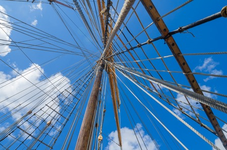 Standing rigging on an old ship Stock Photo