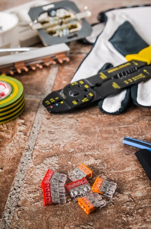 Tools for electricians crimpers and accessories, close-up Stock Photo