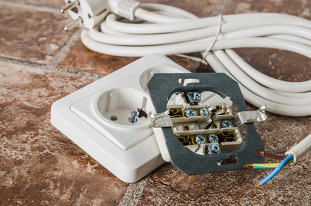 Electric socket and cable, close-up
