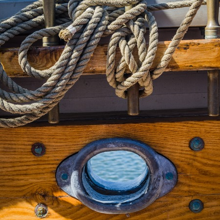 Rigging on the deck of an old sailing ship Imagens