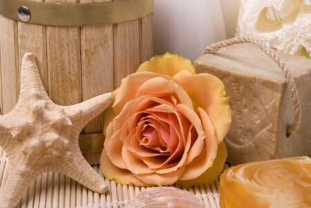 Bath accessories and rose Stock Photo - 5021728