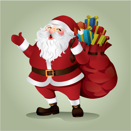 santa sack: Santa claus on green background. Vector illustration for retro christmas card