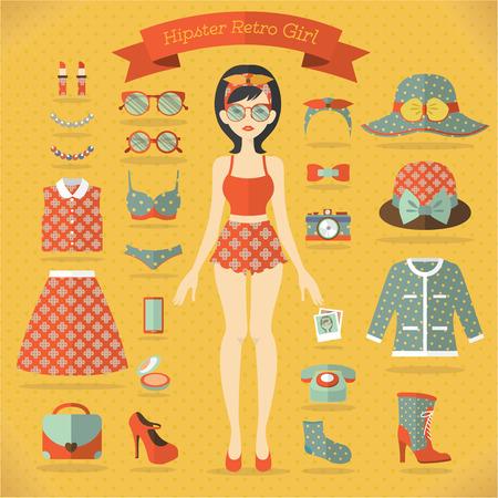 girl vector: Hipster girl vector set Illustration