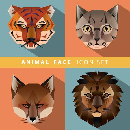 Animal Portrait Set with Flat Design. Vector Illustration