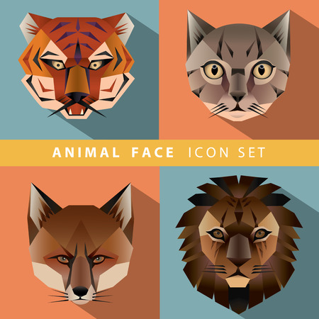 Animal Portrait Set with Flat Design. Vector Illustration Illustration