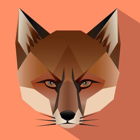 fox face: Cara Fox con dise�o plano. Ilustraci�n vectorial