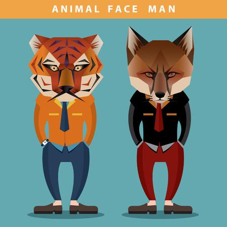 rostro hombre: Animal Face Hombre vectorial
