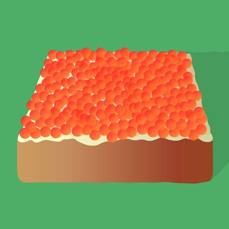 sandwiche: Sandwich with caviar and butter on isolated green background.