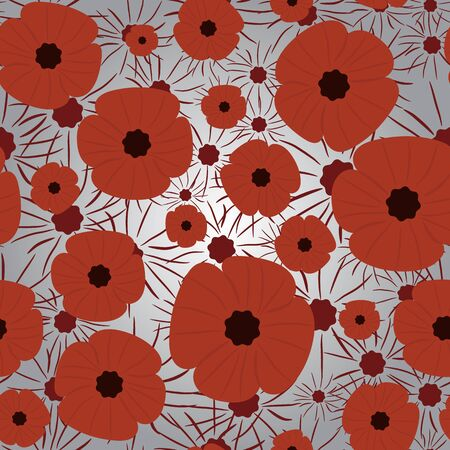 Remembrance Day. Seamless pattern, background. Red and gray colors.