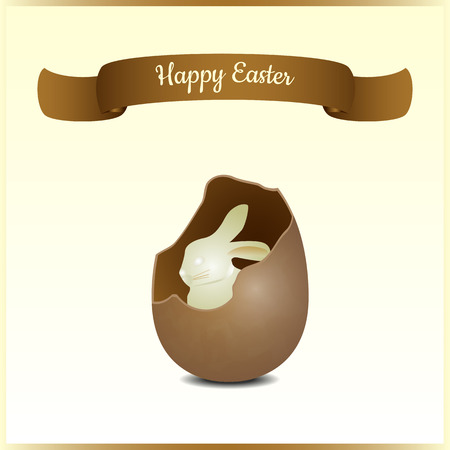 Minimalistic greeting and gift card for Easter. Bunny surprise of the white chocolate in a realistic shocolate egg. Festive vector illustration.
