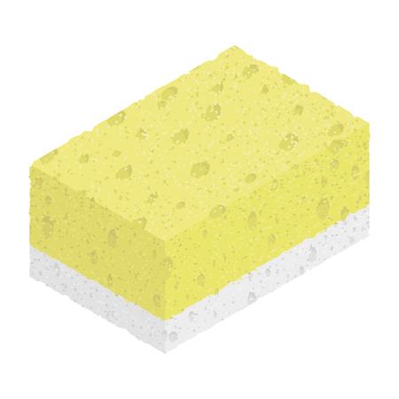 soak: Isometric textured sponge isolated on white background. Vector illustration of kitchen tool for washing. Flat icon for web. Illustration